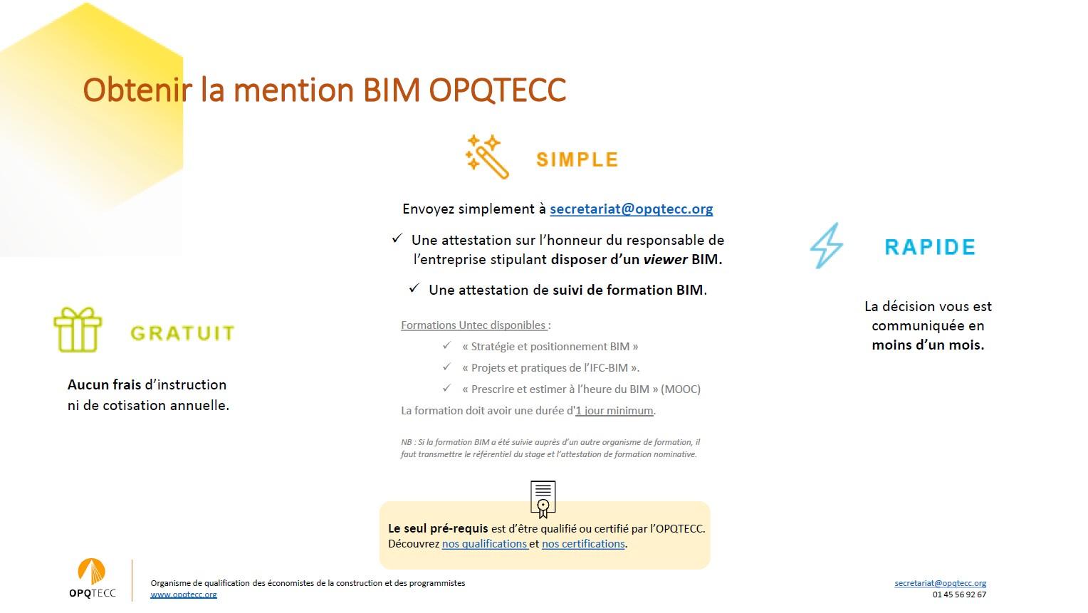 Quelles sont les conditions pour obtenir la mention BIM de l'OPQTECC ?